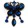 Vintage Navy Blue Butterfly Charm Brooch (Bronze Tone)