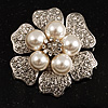 6-Petal Pearl Style Floral Brooch (Silver&amp;White)