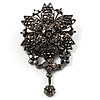 Chic Black Swarovski Crystal Charm Brooch (Black Tone)