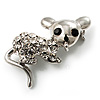 Little Mouse Crystal Brooch (Silver Tone)