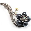 Oversized Stunning Flower Pearl Style Crystal Pin Brooch (Silver&amp;Black)