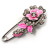 Silver Tone Crystal Rose Safety Pin Brooch (Bright Pink)