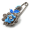 Silver Tone Crystal Rose Safety Pin Brooch (Light Blue)