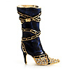 Dark Blue Stiletto High Boot Pin Brooch