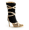 Black Stiletto High Boot Pin Brooch