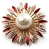 Golden Imitation Pearl Starburst Corsage Brooch (Pink&Red)