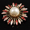 Golden Pearl Style Starburst Corsage Brooch (Pink&amp;Red)