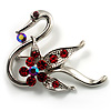 Graceful Red Crystal Swan Brooch (Silver Tone)