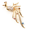Stunning CZ Firebird Brooch (Gold Tone)