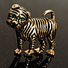 Vintage Bulldog Puppy With Green Eyes Brooch (Antique Gold Tone)