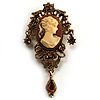 Heiress Filigree Crystal Charm &#039;Cameo&#039; Brooch (Antique Gold)