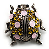 Vintage Crystal Ladybug Brooch (Antique Silver Tone)