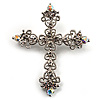 Victorian Filigree AB & Clear Crystal Cross Brooch (Silver Tone) [B01065]