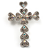Clear Swarovski Crystal Cross Brooch (Silver Tone) [B01066]