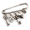 Key, Lock And Heart Locket Charm Safety Pin Brooch (Silver Tone)