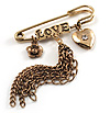 'Love', Crystal Heart, Flower And Tassel Safety Pin Brooch (Burn Gold Finish)