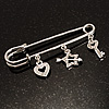 Crystal Key, Star And Heart Charm Safety Pin Brooch (Silver Tone)