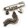'Love', Crystal Heart, Flower And Tassel Safety Pin Brooch (Burn Silver Finish)