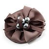 Light Grey Fabric Imitation Pearl Flower Brooch