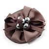 Light Grey Fabric Imitation Pearl Flower Brooch