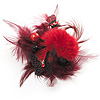 'Fluffy Paradise' Hair Clip / Brooch (Black & Red) - Catwalk 2011 [B01093]