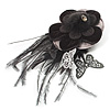 Black Feather Flower And Butterfly Fabric Hair Clip / Brooch (Catwalk - 2011) [B01095]