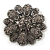 Vintage Swarovski Crystal Floral Brooch (Antique Silver)