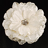 Large Snow White Crystal Fabric Rose Brooch - 13cm Diameter