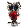 Silver Tone Stunning CZ Owl Brooch (Red &amp; Blue)
