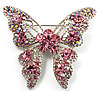 Dazzling Pink Swarovski Crystal Butterfly Brooch (Silver Tone)