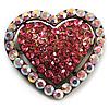 Bronze Tone Dazzling Diamante Heart Brooch (Pink)