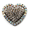 Bronze Tone Dazzling Diamante Heart Brooch (Clear)