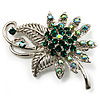 Emerald Green Crystal Floral Brooch (Silver Tone)