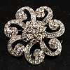 Charming Diamante Floral Brooch (Silver Tone)