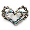 Tiny Open Crystal 'Heart in Heart' Brooch (Silver Tone)