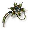 'Falling Star' Crystal Fashion Brooch (Olive & Green)