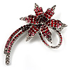 'Falling Star' Crystal Fashion Brooch (Pink, Red & Burgundy)