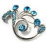 Fancy Sea Blue Crystal Brooch