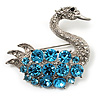 Rhodium Plated Diamante Swan Brooch (Sea Blue & Clear)