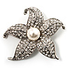 Silver Tone Sparkling Crystal Floral Brooch