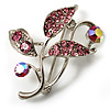 Small Crystal Floral Brooch (Silver&Pink)
