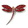 Classic Bright Red Swarovski Crystal Dragonfly Brooch (Silver Tone)