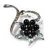 Floral Bead Crystal Brooch (Gun Metal)