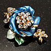 Blue Enamel Crystal Flower Brooch (Gold Tone)