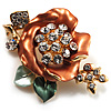 Gold Bronze Enamel Crystal Flower Brooch (Gold Tone)