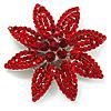 Hot Red Swarovski Crystal Bridal Corsage Brooch (Silver Tone)