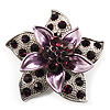 3D Enamel Crystal Flower Brooch (Purple)