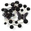 Fancy Butterfly And Flower Brooch (Black & Silver Tone)