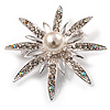 Bridal Crystal Pearl Star Brooch (Silver Tone)