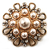 Vintage Wedding Imitation Pearl Crystal Brooch (Burn Gold Tone)